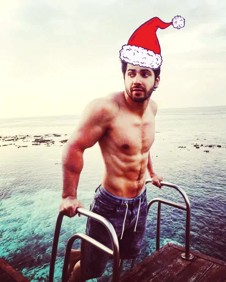 #varundhawan #bareshoulders #chest #abs #swimming #boxers #bollywood #superstar #merrychristmas