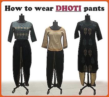 Dhoti pants worn 3 different ways!  http://bit.ly/2z1l67k  #9rasa #studiorasa #ethnicwear #ethniclook #fusionfashion #online #fashion #trendy #styles #dhotipants
