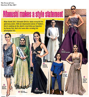 #manushichhillar looks stunning in a #lolabysumanb cobalt pant suit featured in #timesofindia newspaper Mumbai.  #MondayMotivation #DIPublicRelations #WeBuildYourStory