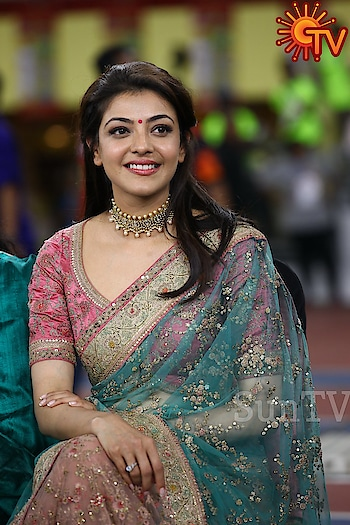 Kajal Aggarwal at Natchathira Vizha 2018 in Malaysia wearing   a light pink and blue embellished saree by Sabyasachi. Her saree look was accentuated with jewelry by Jaipur Gems. Subtle pink make-up and a half tied-up hair-do rounded out her look. She looked good! #kajalaggarwal #southindianactress #tamilactress #kollywoodactress #teluguactress #tollywoodactress #tollywood #indianactress #actressinsaree #saree #indiansaree #sabyasachi #seethrough #jaipurgems #indianmodel #indianfashion #indianstyle #actressfashion #actressstyle #actressdress