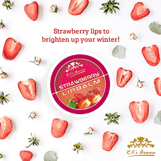 Enriched with the goodness of argan, moringa, jojoba and coconut oils, along with shea and cocoa butters, R.K's Aroma strawberry lip balm is just what you need for soft, plump and moisturised lips this season!   Link: http://rkaroma.com/shop/lip-care/lip-balm/