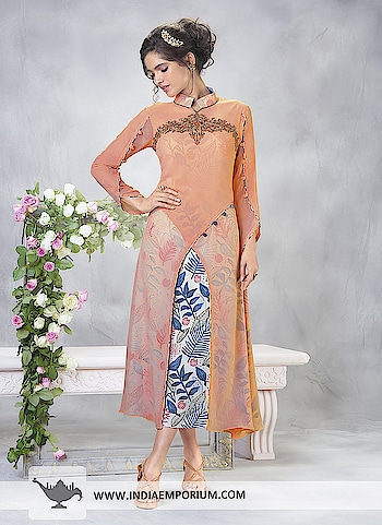 Astounding Orange & Blue Double Layered Kurti in Georgette @@@ https://goo.gl/H1z2SM  #fashionguru #maiapnifavuritehoon #snowflake  #monday  #followers  #instagram #trendingnow #like #wow #photography