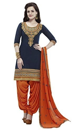 Kvsfab Women Cotton #Patiala #Salwar #Suit Navy blue @ Rs.1399. Buy Now at http://bit.ly/2mkRhdG