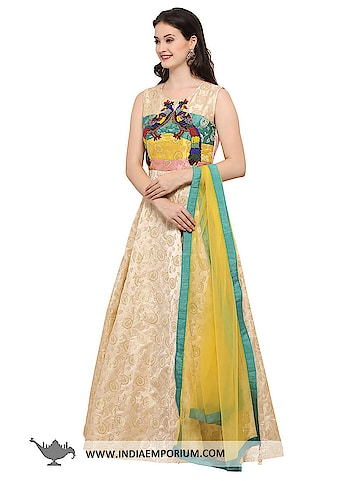 Graceful Cream & Golden Jacquard Party Wear Gown with Net Dupatta  @@@ https://goo.gl/79w22f  #ilovewinters #myjam #menonroposo #bae #designer #tamil #wednesdaywoot #humpday #dance #beauty #life #look #bindass #youtuber #mylifemychoice #indian #food #music #black #soulfulquotes #fashionblogger #cute #hahatv #celebration #roposolove