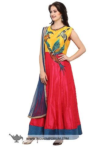 Ravishing Yellow & Pink Bhagalpuri Silk Party Wear Gown with Net Dupatta  @@@ https://goo.gl/cvsRdr   #ilovewinters #myjam #menonroposo #bae #designer #tamil #wednesdaywoot #humpday #dance #beauty #life #look #bindass #youtuber #mylifemychoice #indian #food #music #black #soulfulquotes #fashionblogger #cute #hahatv #celebration #roposolove