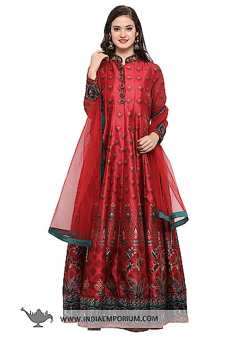 Alluring Maroon & Red Banglori Silk Party Wear Gown with Net Dupatta  @@@ https://goo.gl/YmtFba  #ilovewinters #myjam #menonroposo #bae #designer #tamil #wednesdaywoot #humpday #dance #beauty #life #look #bindass #youtuber #mylifemychoice #indian #food #music #black #soulfulquotes #fashionblogger #cute #hahatv #celebration #roposolove
