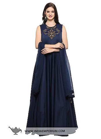 Mesmerizing Navy Blue Scuba Fabric Party Wear Gown with Net Dupatta @@@ https://goo.gl/r6NfGm  #ilovewinters #myjam #menonroposo #bae #designer #tamil #wednesdaywoot #humpday #dance #beauty #life #look #bindass #youtuber #mylifemychoice #indian #food #music #black #soulfulquotes #fashionblogger #cute #hahatv #celebration #roposolove