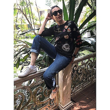 #KarishmaKapoor giving our #MondayMorning a cool spin sporting this #shahinmannan embroidered top while on a trip!  . . . #DIPublicRelations #MondayMotivaton