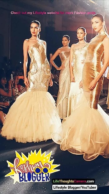 A row of models all clad in gold by Designer Gaurav Gupta at the Blenders Pride Fashion Show in Bengaluru city, Karnataka (India). .  What is your favorite glam color?. .  Visit my Lifestyle Website (link in bio) to view all my Fashion posts.  LifeThoughtsCamera.com ranked #8 in TopIndianBlogs  #Fashion #Bengaluru #India #FashionBlogger #BengaluruFashionBlogger #IndianBlogger #Travel #IndianLifestyleBlogger #IndianFashionBlogger #BangaloreFashionBlogger #NammaBengaluru  #BangaloreLifestyleBlogger   #BengaluruBlogger #BengaluruLifestyleBlogger #Bangalore #BangaloreBlogger  #bpft   #fashionblogger
