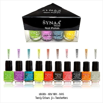 Synaa Nail Polish Set of 10 Pieces (Multicolor Set 1) - Trendy colors. Made from finest lacquers.  Shop online now @ https://synaa.com/collections/nail-polish  #synaa #nailpolish #nailcolor #beauty #makeup #naillacquer #nailenamel