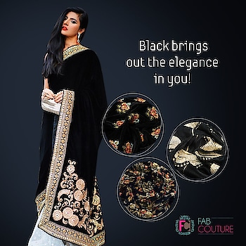 Black brings out the #elegance in you only at #FabCouture. Grab your fabric at: https://fabcouture.in/ . #FabCouture! #DesignerFabric at #AffordablePrices  #DesignerDresses #Fabric #Fashion #DesignerWear #ModernWomen #DesiLook #Embroidered #WeddingFashion #EthnicAttire #WesternLook #affordablefashion #GreatDesignsStartwithGreatFabrics #LightnBrightColors #StandApartfromtheCrowd #EmbroideredFabrics