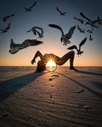#photo #sunset #incredible #beautiful #yoga #beach #woman