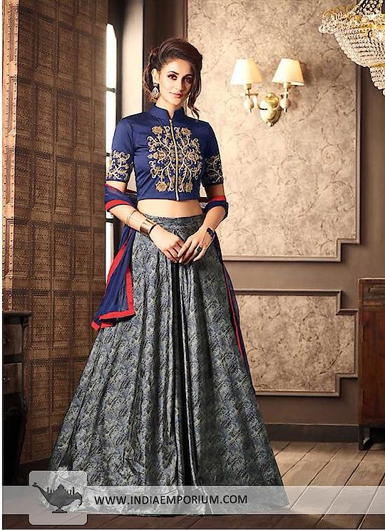 Stunning Navy Blue & Gray Silk Embroidered Long Choli Lehenga  @@@ https://goo.gl/vHp6oQ  #followmeonroposo #letsnacho #soroposo #life #makeup #jhakkas #queen #roposo-style #model #roposolove #sunglasses #blogger #celebration #styles #fashion #ropo-love #cheers #like #soulfulquotes #followme #bindaas #newdp #hahatv #marathi #filmistaan #bollywood #beats #loveyourself #roposogal #roposo