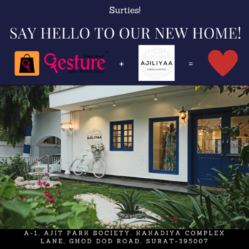 Suraties! Say hello to our new home in your hometown, Surat <3 Gesture Jewelry is now displaying some of it's finest collection of semi-precious jewelry at Ajiliyaa. Do check it out :D  Whatsapp Order: +91-9324287397 Online Store: www.gesturejewelry.com Free Shipping across India with COD. Flexible 7 day return policy.  Let's celebrate womanhood together!  #gesture #ajiliyaa #surat #store #modern #handmade #jewellery #lifestyle #statement #fashion