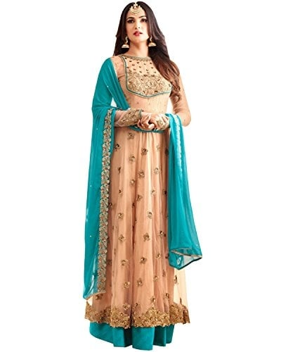 SareeShop Women Cream Georgette Embroidery Gown #Partywear Semi Stitched #Salwar #Suit #Dress Material With #Dupatta @ Rs.1499. Buy Now at http://bit.ly/2FZNsCW