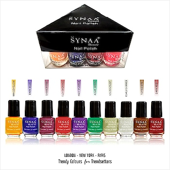 Synaa Nail Polish Multicolor Set of 10 pieces (SET 2). Trendy colors. Made from finest lacquers.  Shop online @ https://synaa.com/products/synaa-multicolor-nail-polish-set-2-10-pieces  #synaa #nailpolish #multicolornailpolish #nailcolors #nailenamel #naillacquer #nailshades