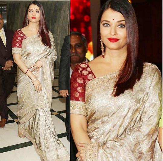 Aishwarya Rai Bachchan In A Beautiful saree Design By Sabyasachi