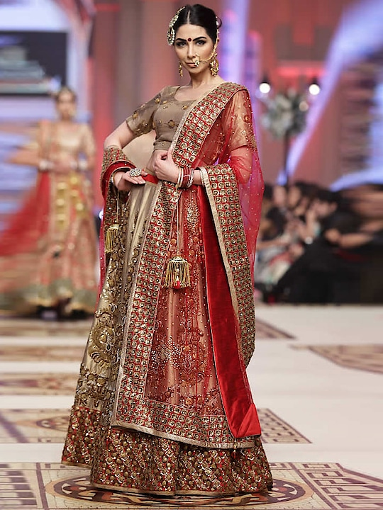 Delightful Golden & Red Panel Style Silk & Net Round Neck Bridal Lehenga Choli  @@@ https://goo.gl/oeW5D6  #mood #mondaymood #bae #trends #ootd #happy #sunglasses #indian #like #celebration #styles #photography #sundayfunday #blogger #soroposo #roposo #roposogal #followme #queen #bindaas #beats #bollywood #love #marathi #roposo-style #fashionblogger #fashion #beauty #model #soulfulquotes