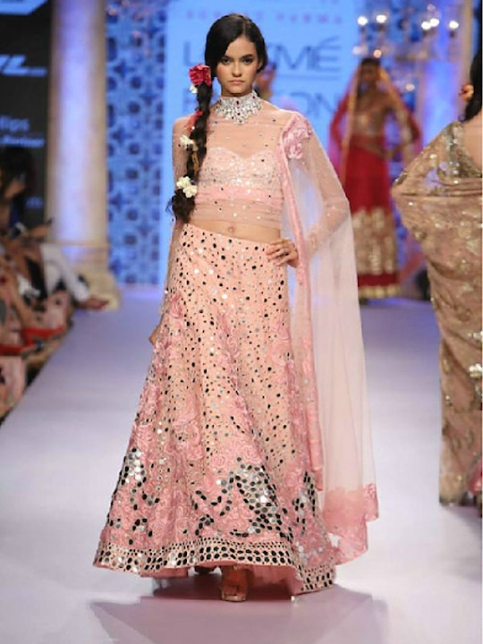 Bedazzling Raw Silk & Net Light Pink Panel Style Sweetheart Neck Mirror Work Lehenga Choli  @@@ https://goo.gl/TgdYAj  #mood #mondaymood #bae #trends #ootd #happy #sunglasses #indian #like #celebration #styles #photography #sundayfunday #blogger #soroposo #roposo #roposogal #followme #queen #bindaas #beats #bollywood #love #marathi #roposo-style #fashionblogger #fashion #beauty #model #soulfulquotes