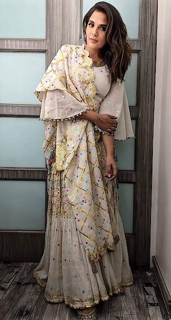 #richachadha looks so pretty in this white #sukritiaakriti gota embroidered sharara set for #daasdev promotions! . . . #dipublicrelations #Spotted