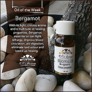 Our #OilOfTheWeek is not only a treat for the senses but also fights fever, relieves spasms, relaxes the mind and body, prevents infections, and much more! Burn a few drops of R.K's Aroma Bergamot essential oil every day for best results!