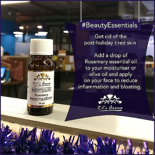 Struggling to recover from that holiday hangover and puffed up face? Breathe new life into your skin with this beauty hack using R.K's Aroma Rosemary essential oil. #BeautyEssentials