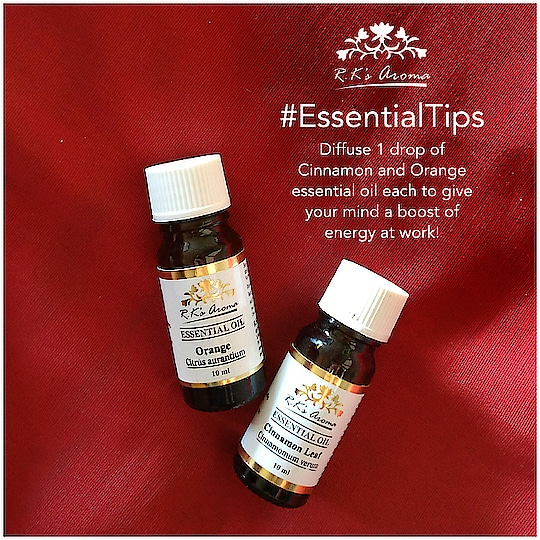 Feeling sluggish at work after a wonderful holiday season? Try this little trick using R.K's Aroma essential oils to put you in the right mood for work! #EssentialTips