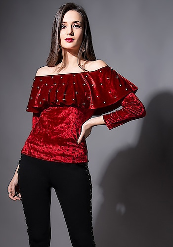 Wear this hot Maroon dress for the certified babe status! 💃  SHOP Maxi Tunic - https://goo.gl/sua3UQ  Maroon Velvet Pearl Off Shoulder Top ₹ 1700  @fab_alley   #faballey #women-clothing #roposo #fashion-addict #loveyourself #beauty #styles #love #followme #like #fashion #trending #fashionblogger #be-fashionable #designer #bindas #Welcome2018 #Off-Shoulder-Top #Top #new #newarrivals #newin #newfashion   #instafashion #instalove #roposofashion #western #Velvet-Pearl #Maroon