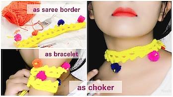 how to:DIY crochet pom pom saree dupatta lace border+pom pom choker necklace/ bracelet making+ hindi  #kolkatafashionblogger #kolkata #kolkatablogger #westbengal #kolkata #kolkatayoutuber #youtubecreator