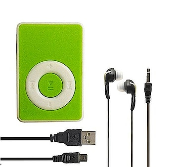 Mini Ipod Portable MP3 Player - Green  Supports MP3 files No built-in memory Micro SD card slot (32GB max) Built-in battery Charging time is about 2 to 3 hours  http://amzn.to/2o14OaD