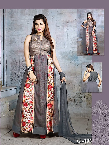 #greygown #girlystuff #designer-wear  #floralgown #trendygowns  #new-style #ladieswear #girlswearstyle To Know more Details please whatsapp on  +919820936178