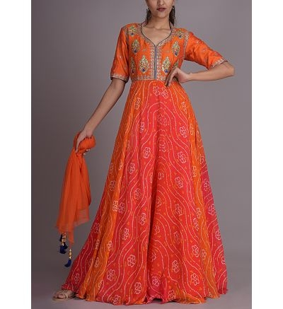 Orange bandhani designer Anarkali suit from Vasansi Jaipur  To shop this suit visit the link: http://bit.ly/2EqPYFi  #Vasansi #women-clothing #dress #roposo #fashion-addict #party-edit #party #party-wear #clothes #new-year #loveyourself #Maxi-Tunic #Oxblood #beauty #styles #Motif-Mock #Inner-Maxi-Tunic #love #followme #styles #like #fashion#anarkali suit#anarakali dress