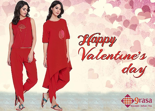 Happy Valentine's Day! Use LOVE25 to get 25% off.  http://bit.ly/2HezfCE  #9rasa #studiorasa #ethnicwear #ethniclook #fusionfashion #online #fashion #trendy #styles #ss18collection #love #happyvalentinesday #red