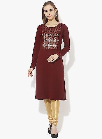 Lakshita Online - Maroon Embroidery Kurti @ Rs.  1198  http://bit.ly/2okJGMs  #roposo # roposodiaries #womenfashion #fashion #kurtis #MaroonKurti #EmbroideredKurti #Lakshita #Lakshitaonline