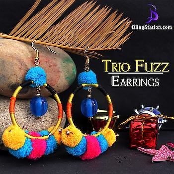 Fashionable combination of blue, yellow and pink color brings out the charming look of the earrings.❤️ #jewelry #bestoffer #shopping #designs #grabon #lifestyle #handmade #designsoftheweek
