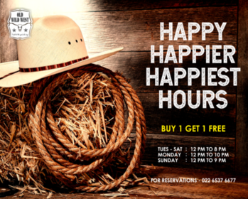 Happy hours have never been this happy! Buy one get one free through the day at Old Wild West.  For reservations call us at: 022 6537 6677  #OldWildWest #Mumbai #SouthMumbai #LateNightMumbai #KamalaMills #LowerParel #CowBoy #Bars #Party #BarsOfBombay #Nightlife #MumbaiNightLife #MumbaiFoodie #Cocktails #CocktailsOfMumbai #Scoopwoop #Zomato #TexMex #FoodOfMumbai #DrinksOfMumbai #Foodies #Foodlove #GoodFood #FoodHolic #Burrp #Worli #HappyHour #mixology