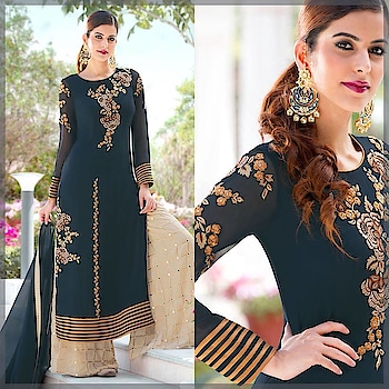 Glits and Glam! Shop this Stunning Navy Blue Embroidered Suit Crafted with #mirrorwork on its #crepe #Palazzo @ https://goo.gl/tQtjuc #beauty #bollywood #hollywood #SalwarSuit #SalwarSuitOnline #BuyOnline #OnlineShopping #Palazzostyle #DarkGrey #NavyBlue #Golden #Shimme