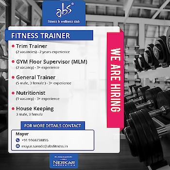 Require experienced Trim trainer, Gym floor supervisor, General trainer, Nutritionist  Its Golden chance to work with #absfitnessnwellness  Apply Now Hurry Up !!!  #absfitnessnwellness #abs #absnasik #Fitness #absfitness #fitnessTrainer #dietician #healthClub #jobsearch #career #Jobs #jobvacancy #employement #resume #jobseeker #portoflio #CV #apply #applynow #newjourney   @nashikfame @college3  @gym01  @fitness_club_india