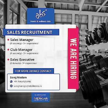Require experienced Sales Manager ,Club Manager, Sales Executive  Its Golden Opportunity to work with #absfitnessnwellness  Apply Now  Hurry Up Guys !!!  #absfitnessnwellness #abs #absnasik #Fitness #absfitness #fitnessTrainer #dietician #healthClub #jobsearch #career #Jobs #jobvacancy #employement #resume #jobseeker #portoflio #CV #apply #applynow #newjob   @nashikfame