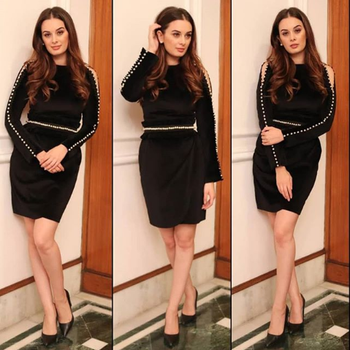 #evelynsharma looks stunning as she adorns this classic pearl velvet LBD for a recent #timesofindia event in #kolkata   #Spotted #DIPublicRelations