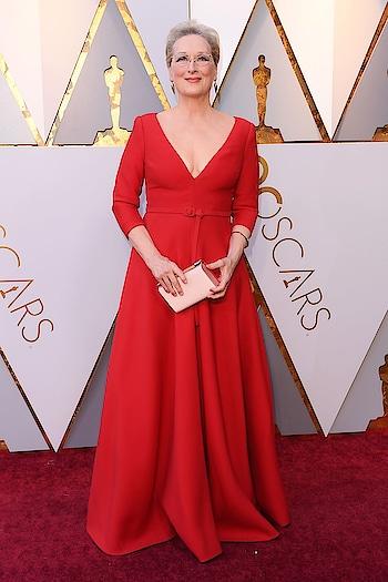 Meryl Streep in Christian Dior at the Oscars' red carpet. #oscars2018