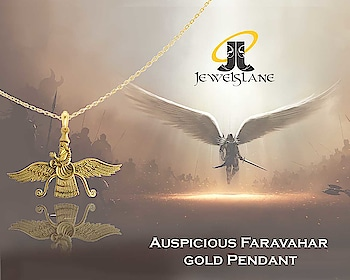 #Auspicious #Faravahar #gold #Pendant carefully crafted in 21k gold studded with 2 round brilliant cut #diamonds - shop now - http://bit.ly/2HQVH5o