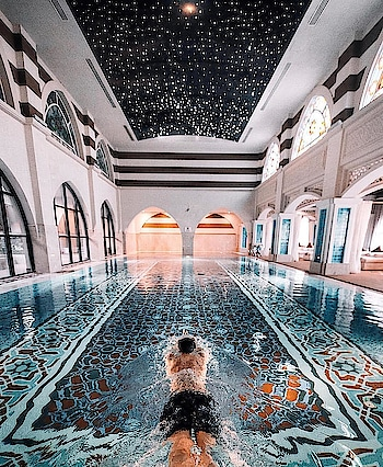 Beautiful Arabic Designed Indoor Pool 😍 #swimmingpool #interiors #arabictheme #luxuryinteriors #homedecor #decor ideas #topnotch