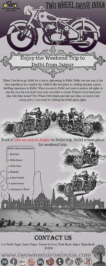 Two Wheel Drive India provides you #bikes #on #rent in very cheap #price. Book #bike #on #rent #in #Jaipur to #Delhi trip. So, #hurry up to #book now- goo.gl/dCmGo1  #Bikerentalinjaipur #Bikeonrentinjaipur #Rentabikeinjaipur #Bikeforrentinjaipur #Rentbikeinjaipur #Bikeonrentjaipur #Bikehireinjaipur #Motorcycleonrentinjaipur