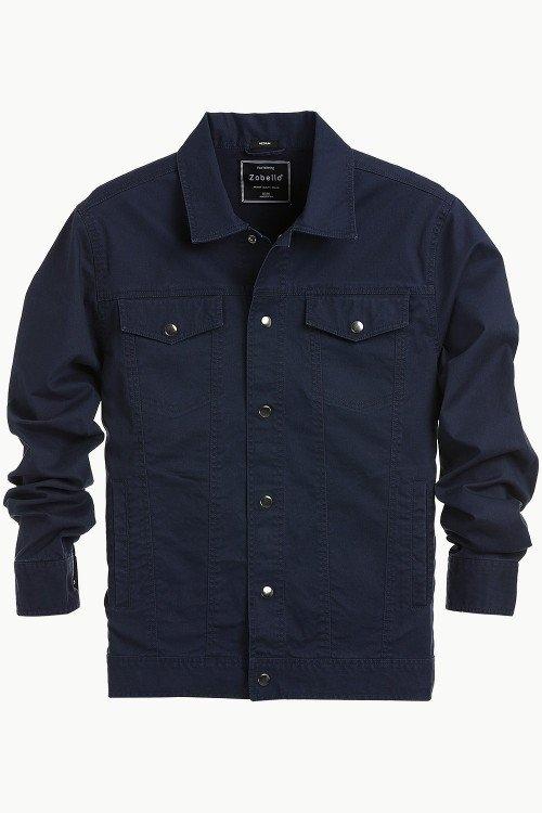 Buy Men's Navy Snap Button Closure Twill Jacket at Zobello.  https://www.zobello.com/men-s-navy-snap-button-closure-twill-jacket-51183a.html
