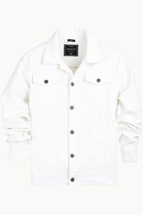 Buy Buttoned White Denim Jacket at Zobello.  https://www.zobello.com/buttoned-white-denim-jacket-51170b.html