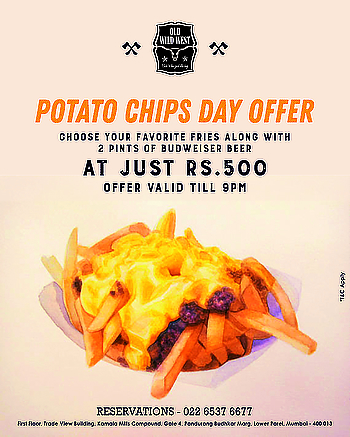 Giving you the much-required dose of adrenaline to get to the weekend with the Potato Chips Day offer: Get 2 pints of Budweiser beer along with Cheese Fries at just Rs. 500.* So get your buddies and come on over before 9pm today. *T&C's applied  For reservations call us at: 022 6537 6677  #OldWildWest #Mumbai #SouthMumbai #LateNightMumbai #KamalaMills #LowerParel #CowBoy #Bars #Party #BarsOfBombay #Nightlife #MumbaiNightLife #MumbaiFoodie #Cocktails #CocktailsOfMumbai #Scoopwoop #Zomato #TexMex #FoodOfMumbai #DrinksOfMumbai #Foodies ‬‪#Foodlove‬ ‪#GoodFood #FoodHolic #Burrp #Worli #HappyHour #mixology