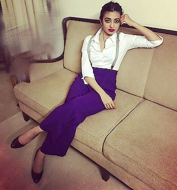 #radhikaapte goes androgynous in trousers by #shahinmannan for an event!  #UltraViolet #RadhikaApte #Spotted