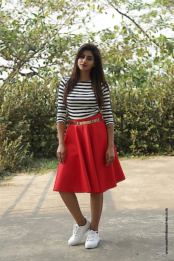 "Varshini Sounderajan stills from ""Pick N Hook"" Event held at  at Rajahmundry GIET Collage  wearing outfit designed by Rakesh Nukala and footwear by Zara. http://www.southindianactress.co.in/malayalam-actress/shamili/varshini-sounderajan-pick-n-hook/  #varshinisounderajan #southindianactress #southindianmodel #southindiangirl #redskirt #girlinskirt #whitefootware #stripeddress #stripedtop #indiangirl #indianmodel #indianactress #tollywoodactress #teluguactress #fashion #style #actressdress #actressfashion #celebrityfashion #modelphotography #modelphotoshoot"