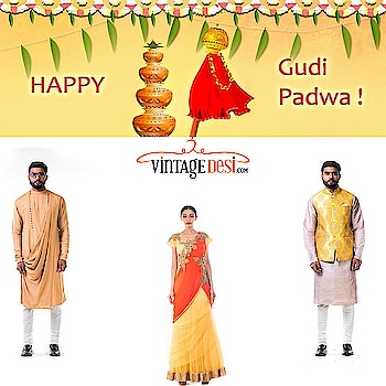 Vintage Desi wishes you a happy Gudi Padwa ! Shop for the entire family at vintagedesi.com We ship worldwide ! Get 10% off when you sign up for our newsletter! Hurry up grab your favorites before they sell out !  #jewelry #earring #necklace #goldearring #templejewellery #bollywoodjewellery #fashionjewelery #indianjewelry #weddingjewelry #kundanjewelry #polkijewelry #silverjewelery #kundan #lengha #bridal #bridalmakeup #mendhi #designersarees #lenghasmumbai #indian #beauty #fav #cuties #cuteness #stunner #reception #party #elegance #greylehenga